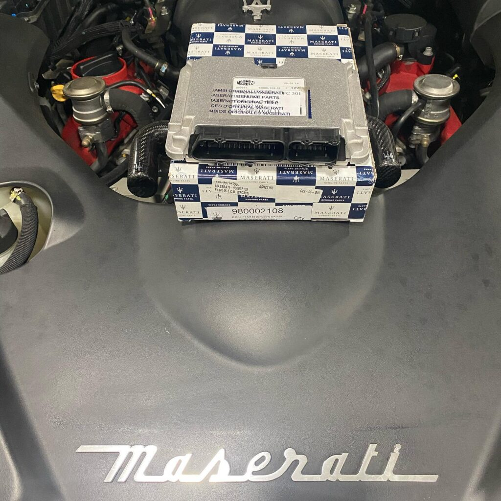 NCR Trans Control Module on M145 GranCabrio and GranTurismo by Maserati.  This is a genuine Maserati NCR from dealer and using diagnostics to replace.